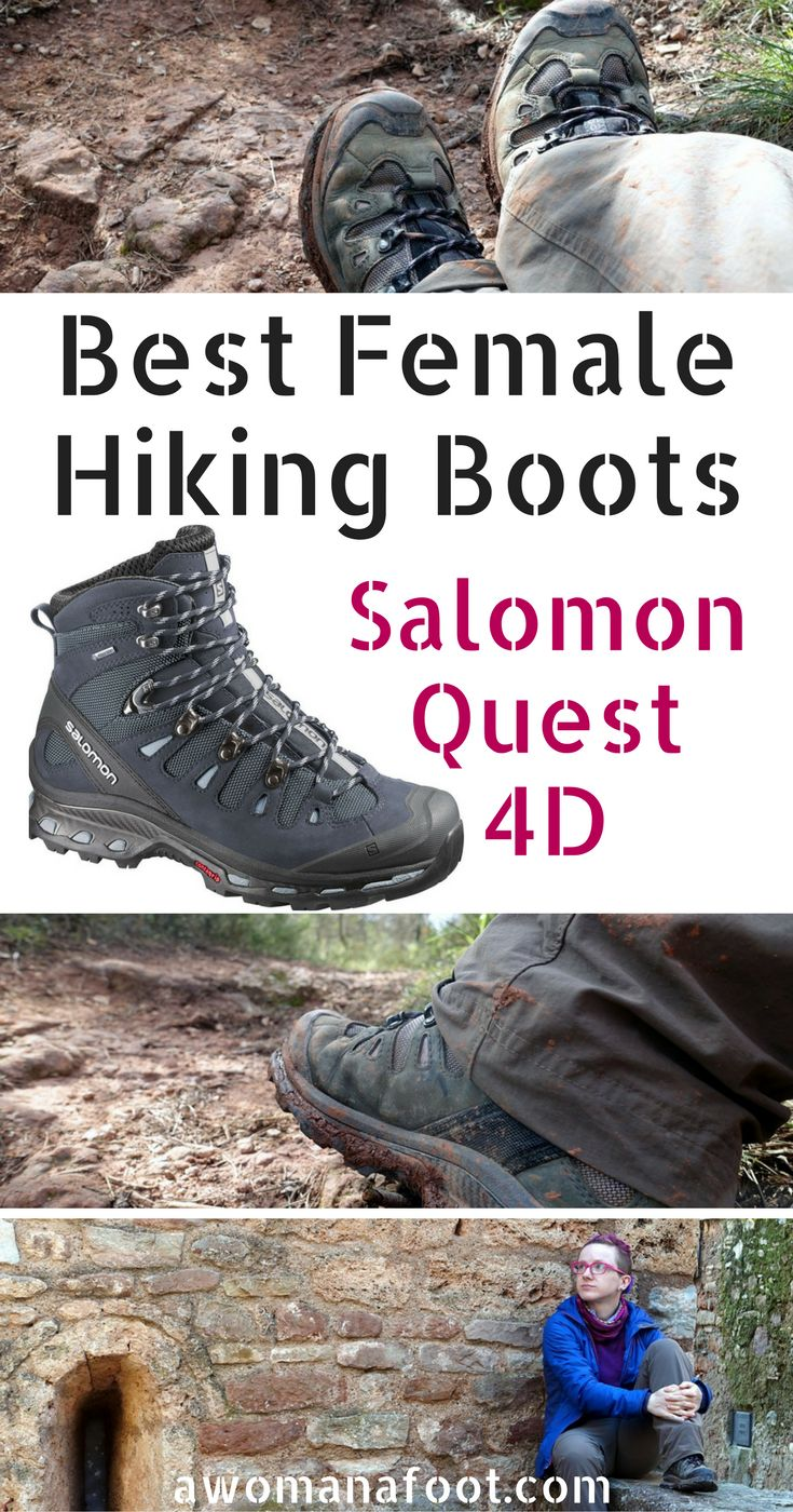 I found the perfect pair of female hiking boots! Read this review of Salomon Quest 4D to see why I love them so!  |female hiking boots | hiking gear | hiking apparel | mountaineering boots | hiking women | Salomon clothing |  awomanafoot.com