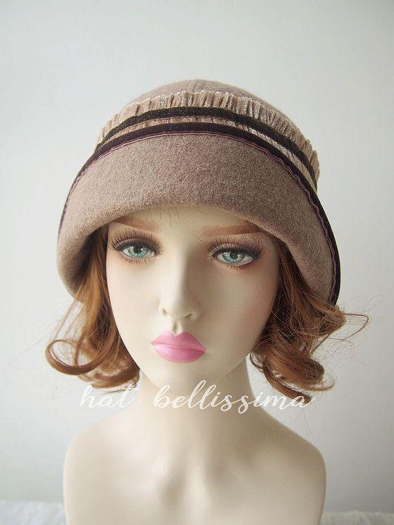 Womens Jewel Brooch Retro Vintage Soft 100/% Wool Cloche Hat Cap Beanie