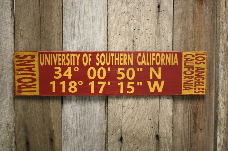 University of Southern California University Sign, University of Southern California Latitude Longitude Sign, Trojans Sign, Trojans Decor by BlueDogFramingDesign on Etsy
