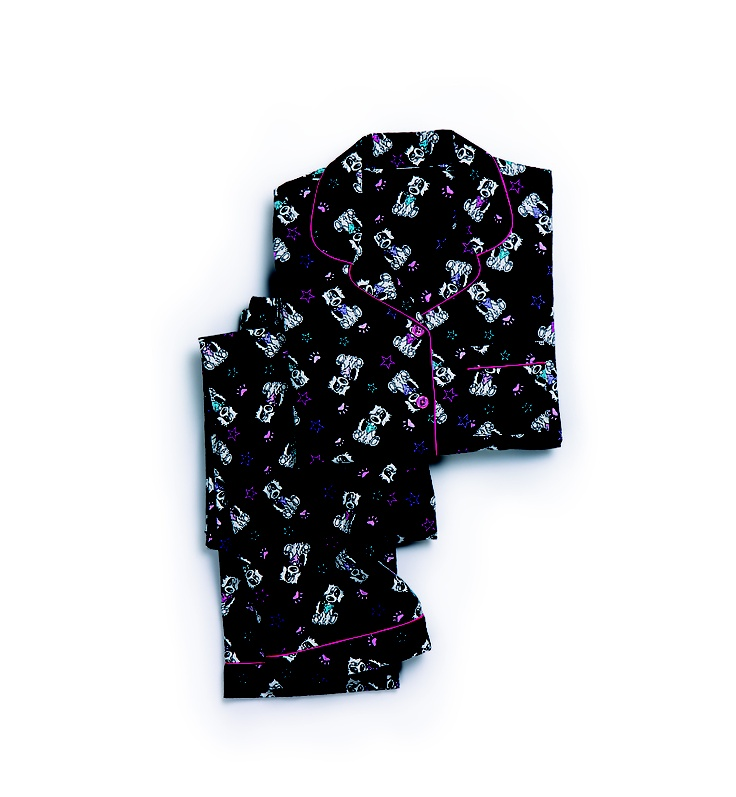 Shelley: Black Flannel Dog PJs