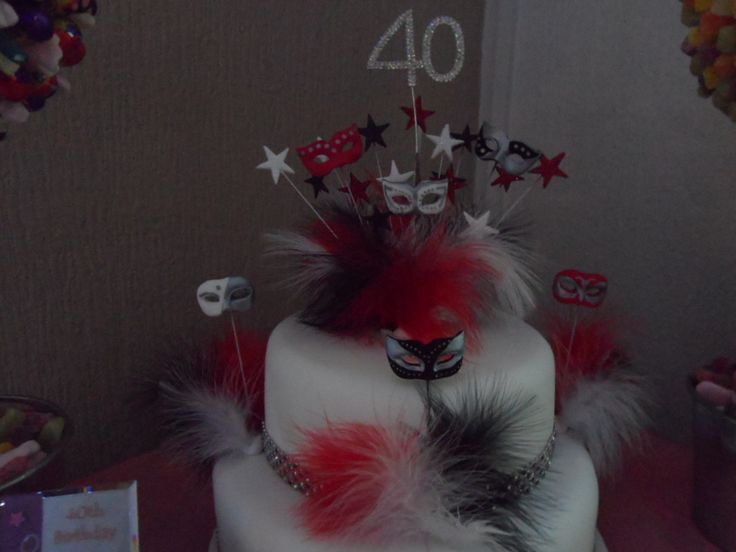 My 40th Birthday cake designed and made by my friend and I :-) Masks feathers diamante :-)
