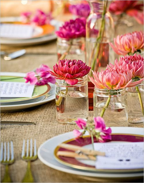 #mason jar with flowers. #clothespin with menu card. great #dinner#party idea