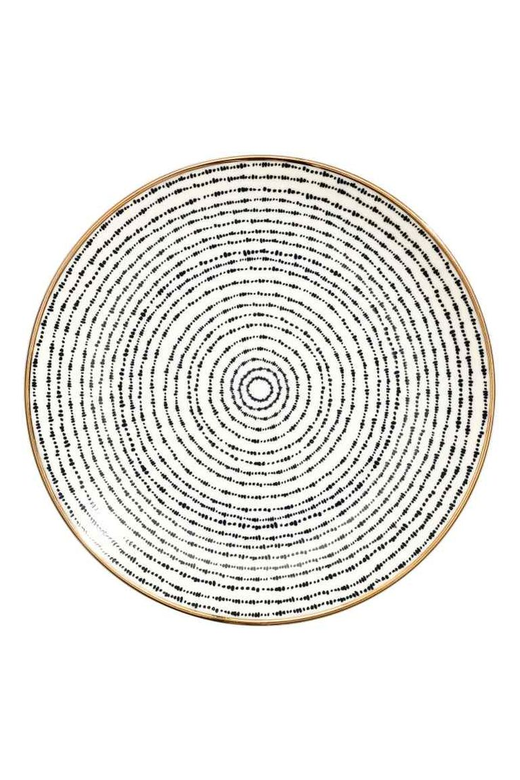Porcelántányér - Fehér/kék mintás - HOME | H&M HU