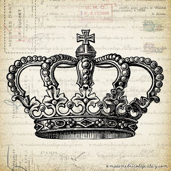Crown - Digital Image Download  for Iron on Transfer, Papercrafts, Pillows, T-Shirts, Tote Bags, Burlap, No 00004