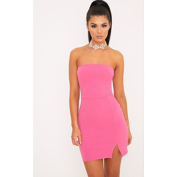 Layala Hot Pink Split Detail Bandeau Bodycon Dress ($11) ❤ liked on Polyvore featuring dresses, hot pink, pink dress, pink bodycon dress, pink party dresses, bodycon party dresses and body con dress