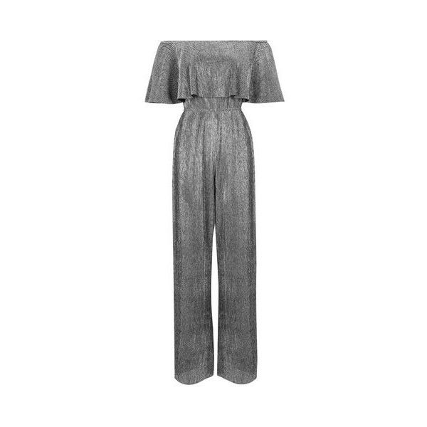 Frill Top Bardot Jumpsuit by Rare (365 RON) ❤ liked on Polyvore featuring jumpsuits, silver, jump suit, topshop jumpsuit, wide leg jumpsuits and ruffle jumpsuit