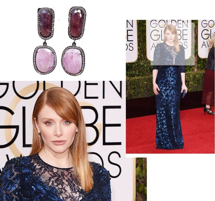 Golden Globes 2016. Bryce Dallas Howard wore Calvin Klein. We've teamed her glittering dress with our Pink sapphire double drop earrings for the perfect look.