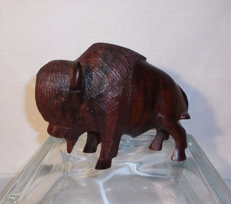 Vintage hand carved ironwood buffalo or bison from sonora