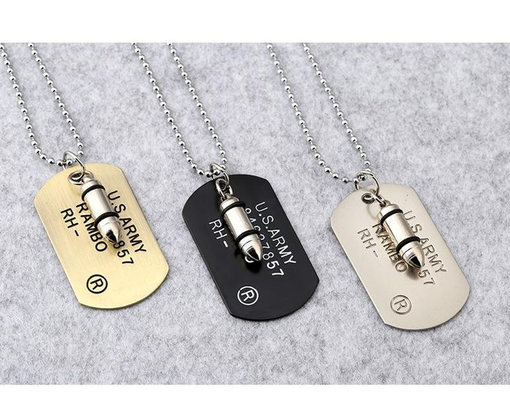 2017 New Fashion Punk Rock Bullet Army Card Necklace For Women 316L Stainless Steel Pendant Necklaces For Male Jewelry Gifts