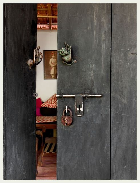 """The portal to the home...the first place to make that all important """"impression""""...*note the """"hands"""" embellishments herein.....jade jagger, goa"""