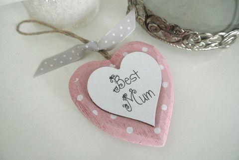 Pink Best Mum Heart Personalise - Divine Shabby Chic