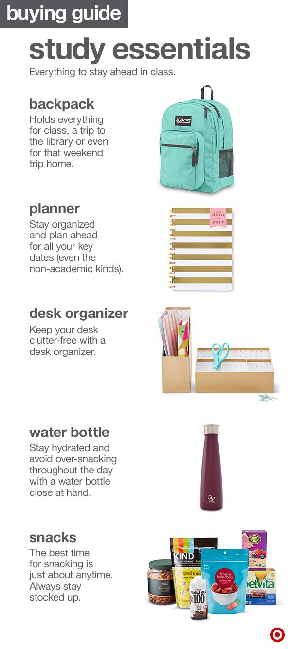 When setting up your college dorm room for studying, here are a few must-haves. Start with a backpack of your choosing. Next, pick a planner, a desk organizer and storage, lots of snacks and a water bottle to keep you hydrated.