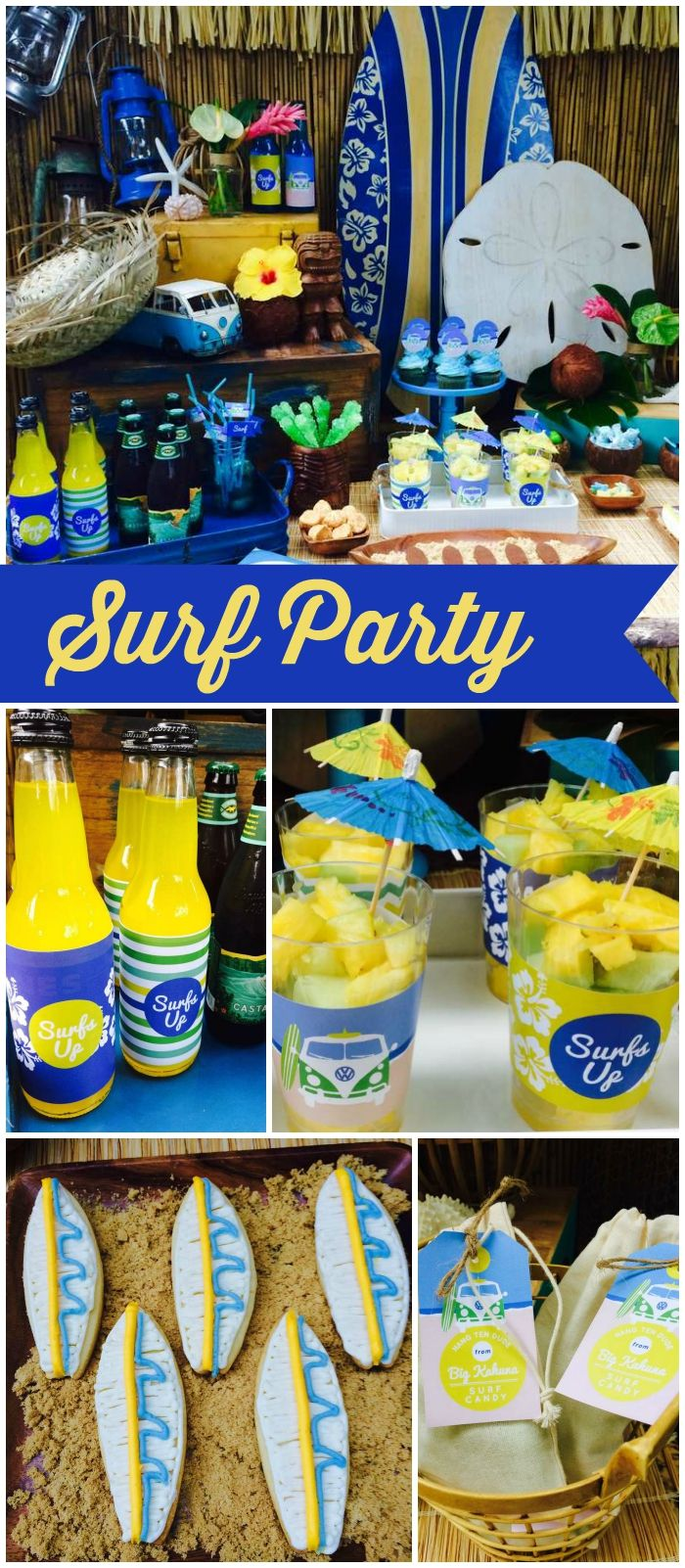 How cool is this beach party with vintage surf elements?! See more party ideas at CatchMyParty.com!