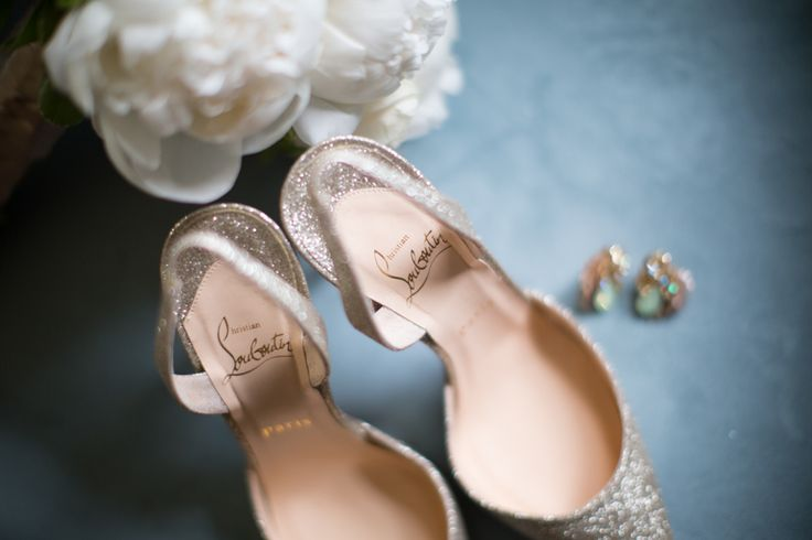 Louboutin sparkly bridal shoes