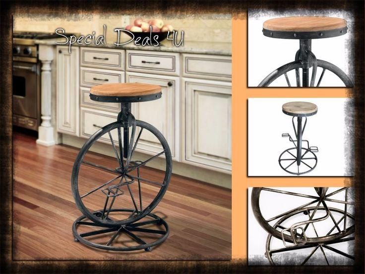 Swivel Chair Stool Modern Bar Wood Metal adjustable Seat Set Vintage Barstool #SwivelBar #IndustrialModernVintage