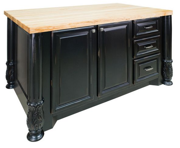 Distressed Black Large Island with Large Cabinet/Three Drawers  Click here to purchase: http://www.houzz.com/photos/16933112/lid=6924899/Distressed-Black-Large-Island-with-Large-Cabinet-Three-Drawers-transitional-kitchen-islands-and-kitchen-carts