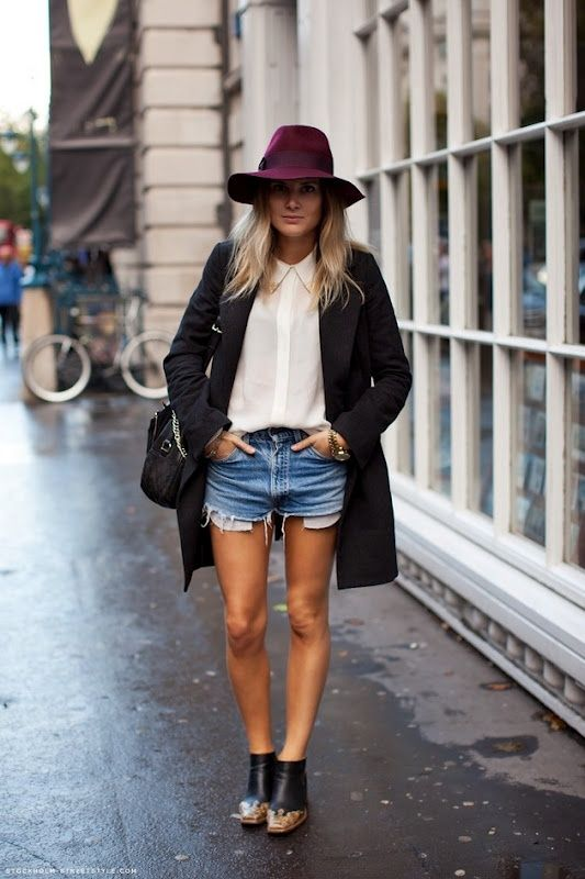 New York street style - jean shorts, button down, felt hat