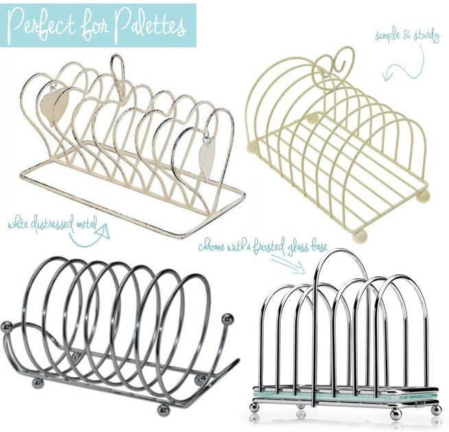 Make Up Storage Ideas- toast and letter racks can make great palette stands! Cosmetic storage ideas from eBay