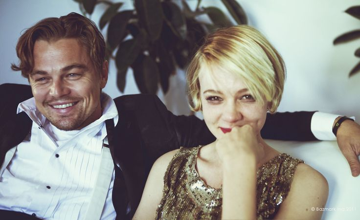 DiCaprio and Carey Mulligan in between takes on The Great Gatsby set