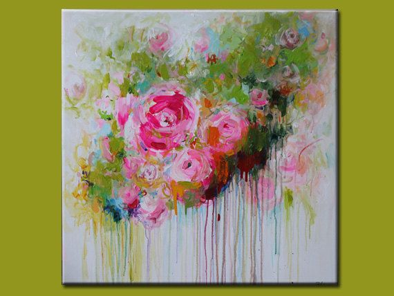 ORIGINAL abstrakt zeitgenössische abstrakte Blumen-Gemälde auf Leinwand Acryl abstrakt Kunst Rosa-Olivgrün