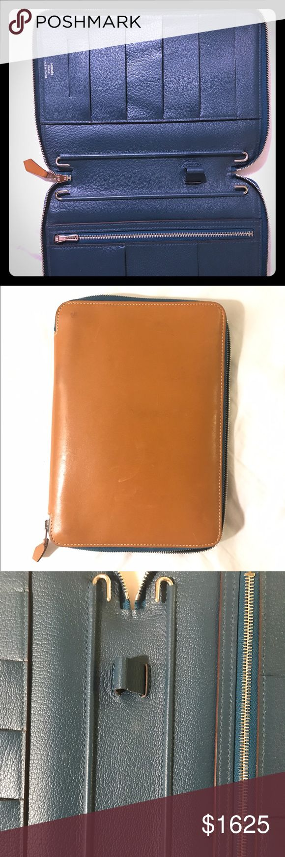"😃Auth Hermes ""Globetrotter"" Portfolio Case Auth Hermes Calfskin outside, pebble leather inside. Some signs of wear on outside, see photos.  Inside in perf cond. Bought 2 yrs ago @ Hermes Shop  $2400 5""x7"" made in France. Fits 9 cards, 1 pen, has money pocket and fits either iPad Mini or Hermes calendar. STUNNING BUTTERY LEATHER! Male or Female great V Day gift! Hermes Bags Clutches & Wristlets"