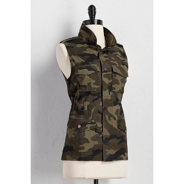 camouflage utility vest ($40) ❤ liked on Polyvore featuring outerwear, vests, vest waistcoat, camo vest, camouflage vest, sleeveless waistcoat and utility vests