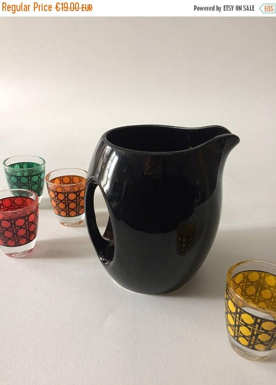 SUMMER SALES Black glazed pitcher 1950's. French vintage porcelain water milk cream jug,black pottery.French vintage vase 50's,midcentury ho by frenchvintagebazaar on Etsy
