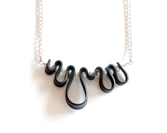 Black and white squiggle necklace handmade by LivelyLeafDesigns, $29.00