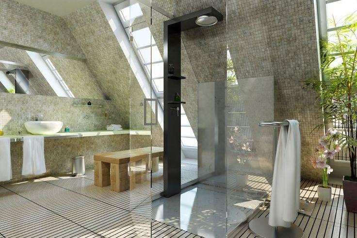 Nowoczesna łazienka - przestronna, przezroczysta kabina prysznicowa na środku pomieszczenia wygląda bardzo efektownie.fot. fotolia.com