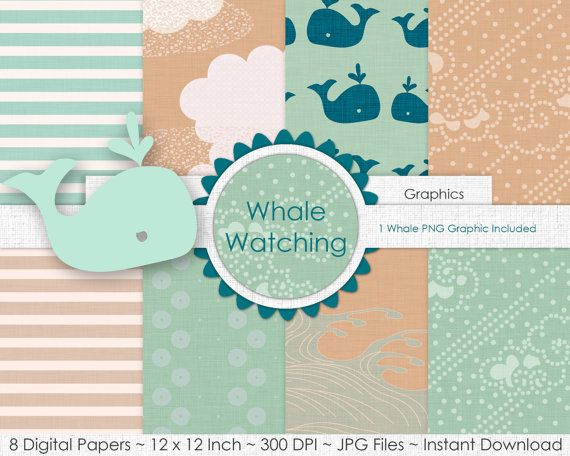 SAND & MINT WHALE Digital Paper Pack Commercial Use by ClipArtBrat