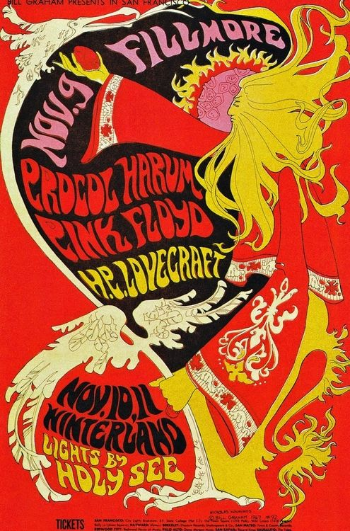 Procol Harum Pink Floyd, HP Lovecraft at the Filmore and Winterland, #psychedelic: Rick Griffin