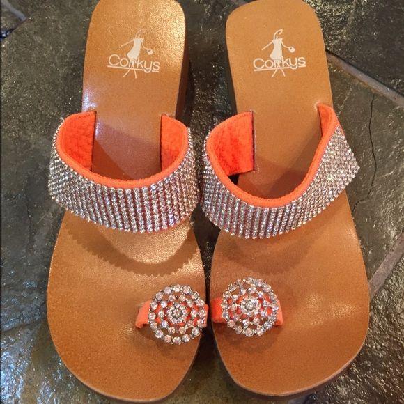 Corkys bright orange bling sandal Worn twice.  No stones missing.  Bright orange. Corky Shoes Sandals