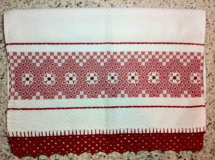 Bordado em tecido xadrez - Pano de Prato Atoalhado (Detalhes sobre o bordado... Visitar)