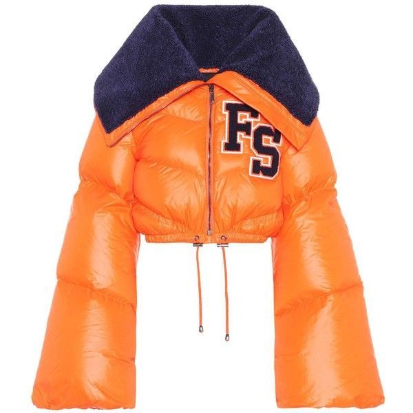 Fenty by Rihanna Funnel Collar Cropped Down Jacket ($1,780) ❤ liked on Polyvore featuring outerwear, jackets, orange, orange cropped jacket, down jacket, funnel jacket, puma jackets and orange jacket