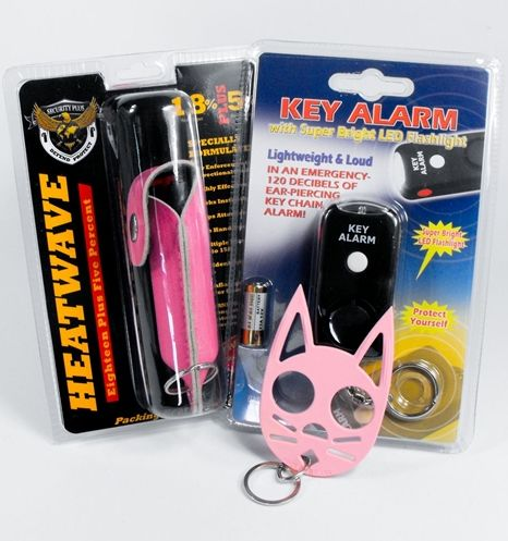 This affordable safety kit is a must... includes  Pink Heat Wave Pepper Spray key chain, a Pink Wild Kat Self Defense Keychain, and a Key Alarm.