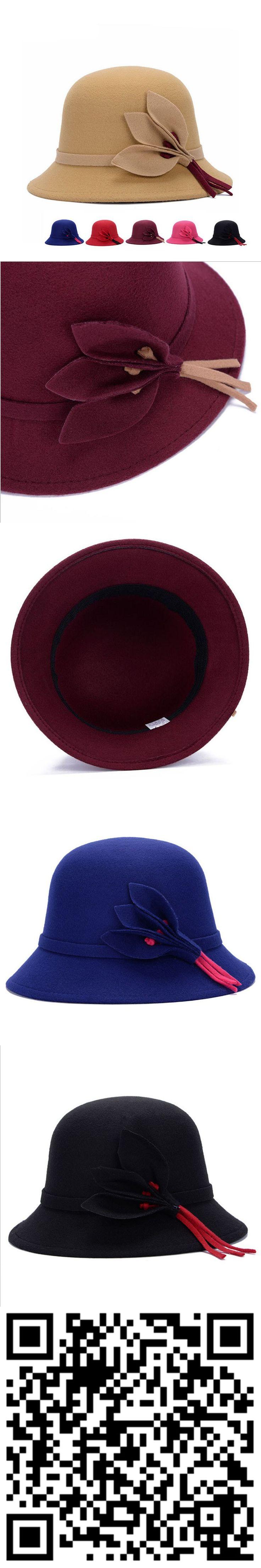 2015 NEW Winter Fedora Hats For Women Vintage Wool Felt Bowler Wide Brim Fashion Women Girls Sun Caps Floral Bucket Hat $5.2
