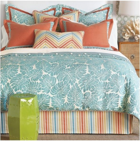 Aqua And Coral Eastern Accents Bedding Set Cozy Bedroom