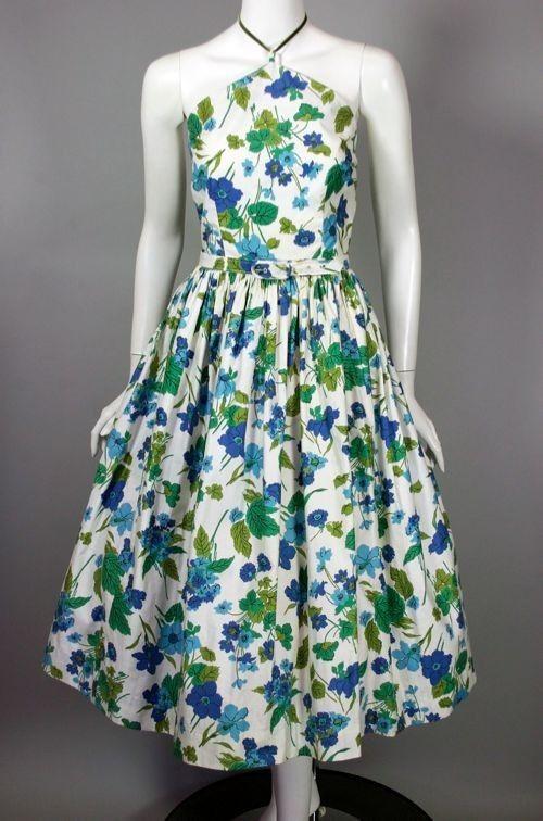 SOLD 1950s dress floral cotton halter sundress full skirt size M from Viva Vintage Clothing