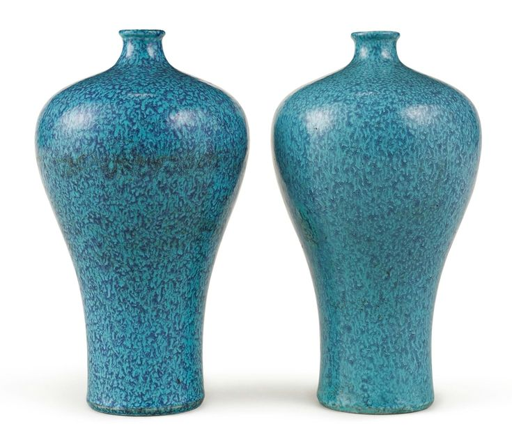 Two robin's-egg-glazed vases (meiping), Qing dynasty, 18th century