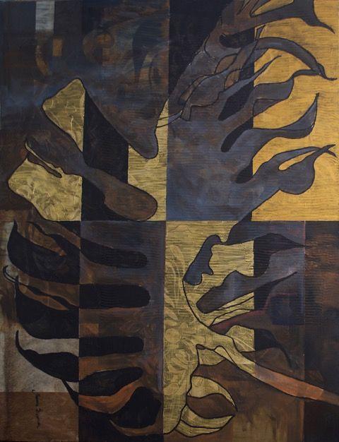 Tajemniczy ogród 1, Joanna Szumska, technika mieszana, 100 x 130 cm, 2016