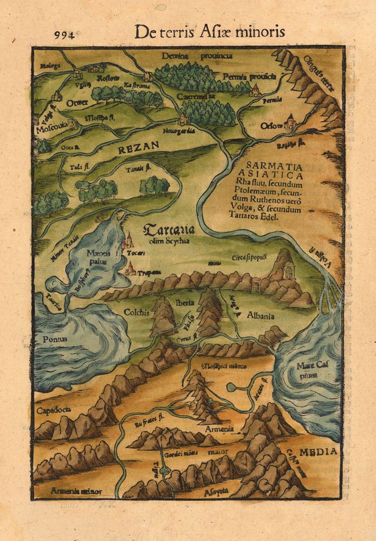 Russia with parts of Tartary and Kazakhstan; a woodcut, hand-colored decorative map by  Sebastian Münster, 1559.    De terris Asiae minoris   Basel, Henricus Petri. 1559 [24 x 16,3 cm] Woodcut, hand colored in outline and wash