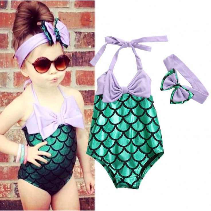Cute Girls Little Mermaid Swimsuit Bikini Set Bow Headband Swimwear Swim Costume #Unbranded #TwoPiece