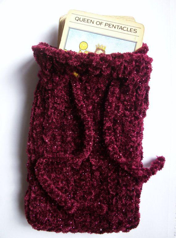 Knitted Tarot Pouch Bag Chenille Velvet by thekittensmittensuk, $17.00