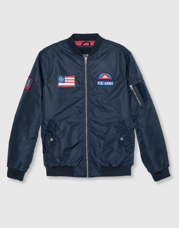 Pull&Bear - man - new - clothing - patch bomber jacket - blue…