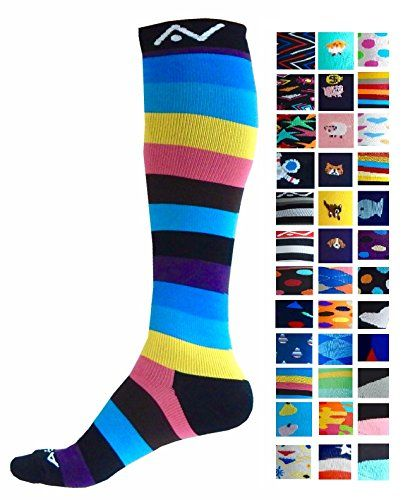 Compression Socks (1 pair) for Women & Men by A-SwiftCool RainbowS/M