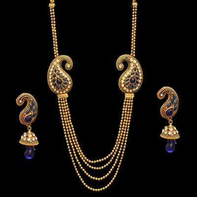 Indian Fashion Bridal Long Necklace Earrings Jewelry Gold Plated Sapphire Pearl