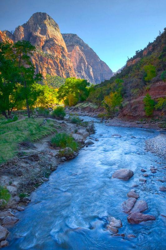 Sunset Virgin River, Zion National Park, Utah