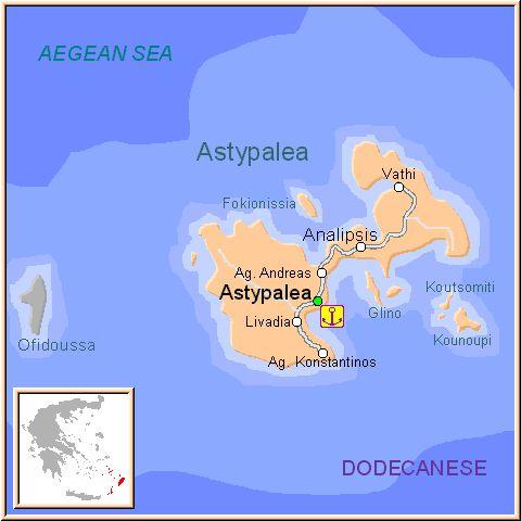 ☼ Grecia Greece ☼ Mapa de la isla de Astipalea, en las Islas Griegas del Dodecaneso, Grecia.