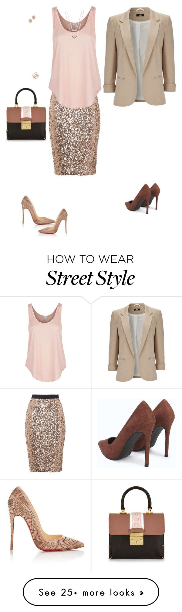 """Holiday style"" by mariesipova on Polyvore featuring French Connection, Rip Curl, Wallis, Christian Louboutin, Michael Kors, EF Collection, Bloomingdale's, skirt, evening and holiday"