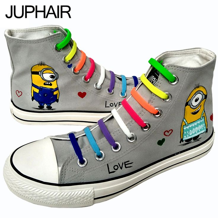 Custom Hand Painted Footwear with Lazy Shoelace //Price: $98.82 & FREE Shipping //     #bob #minionlove #minionsmovie #minionslove #funny #kevin